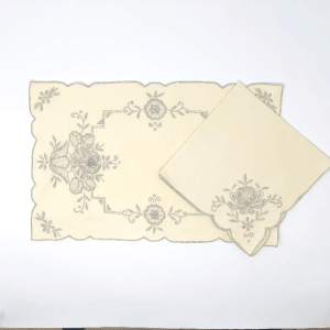 Embroidered Ecru Napkin & Placemat Set