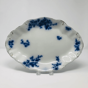 Flow Blue Platter with Gold Accents