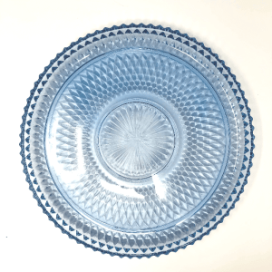 Ice Blue Diamond Point glass Platter