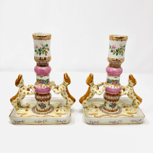 A lovely pair of Vintage Chinoiserie Staffordshire Candlesticks.  Perfect condition.  6 1/2
