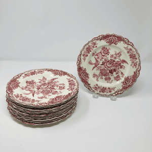 Set of Cranberry and White Crown Ducal Plates