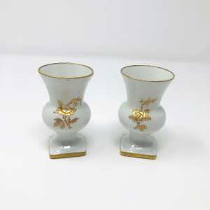 Small Gold and White Limoges Bud Vases
