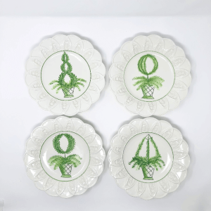4 white and green Topiary Plates