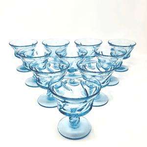 Blue Fostoria Coupe Glasses