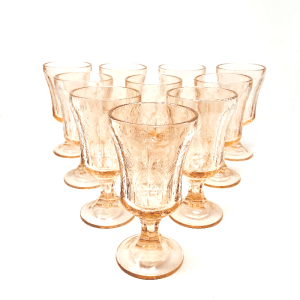 Heavy Peach Depression Glass Goblets