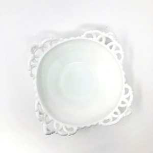 Milk Glass Bowl with Handles
