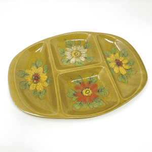 Green Floral Divided Dish