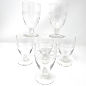 Vintage Leaf-Motif Glasses