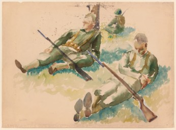 54-1943summertraininginflorida3soldiersrestingwatercoloronpaper15x20-50pps1531