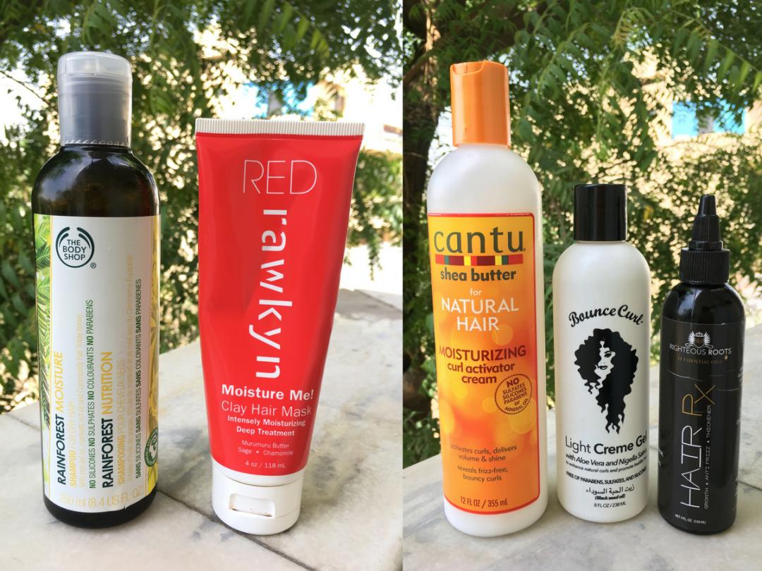 bodyshop shampoo, rawkyn clay mask, cantu curl activator, bounce curl gel