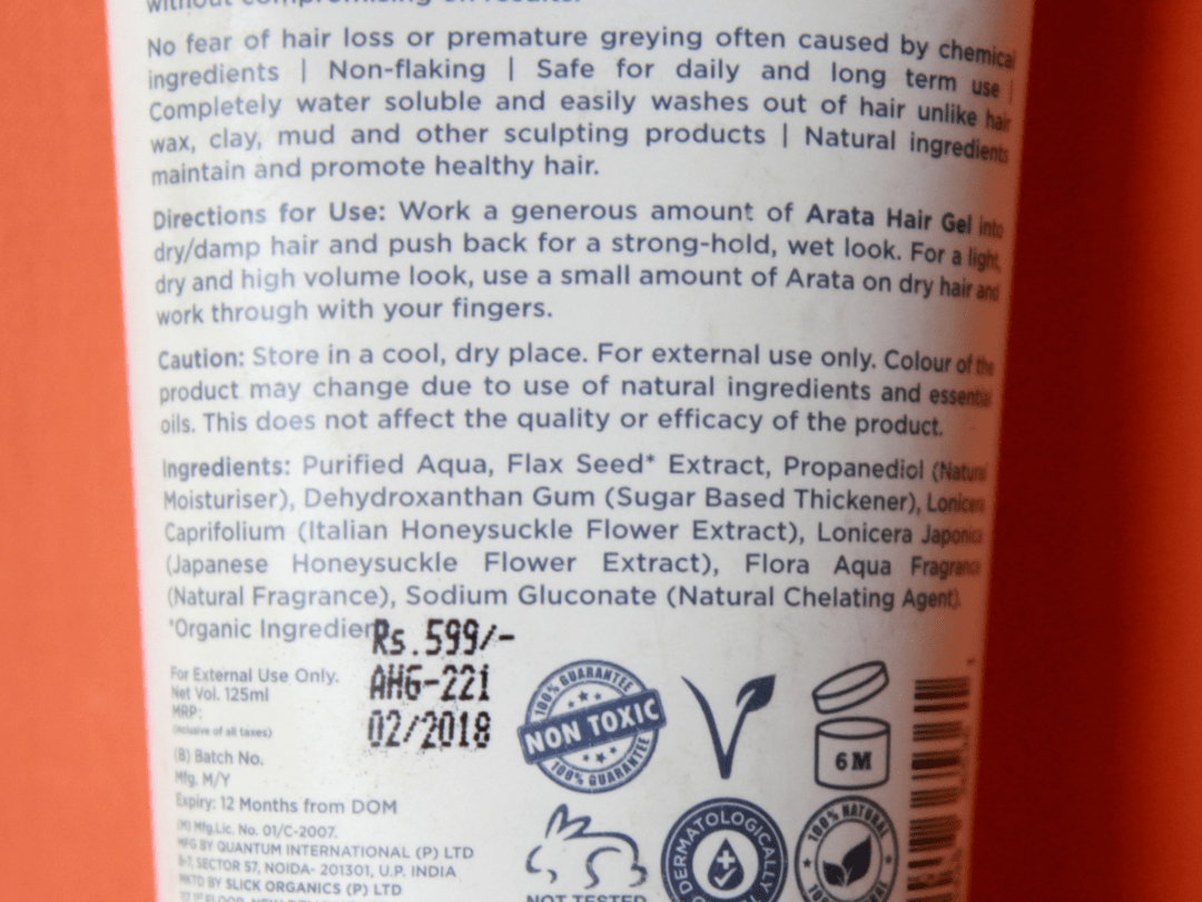 Arata Hair Gel Ingredients