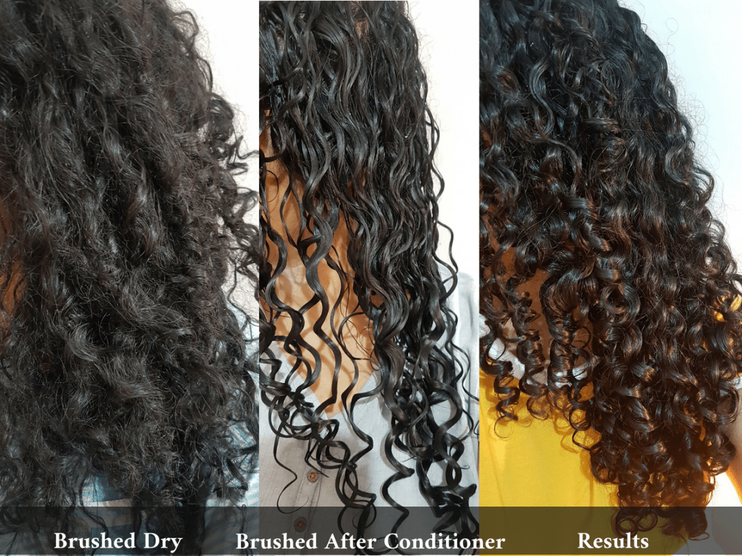 Brushing Curly Hair Dry vs After Conditioner