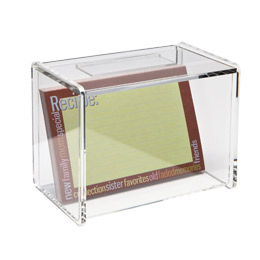 acrylic recipe box with recipe card window ~ container store, $14.99.