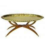 Moroccan Vintage Brass Tray Table with Folding Stand, e-Mosaik.