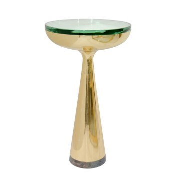 Brass Pedestal Side Table with Circular Glass Top, John Salibello.