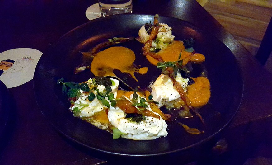 Burrata, carrot marinara, fermented carrot vin, carot top pesto, One Street Over