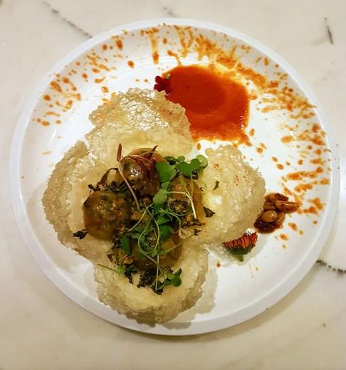 Pok choy and mushroom dumplings, Pa Pa Ya, Colaba