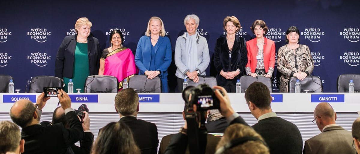 The seven female co-chairs of the 2018 World Economic Forum at Davos