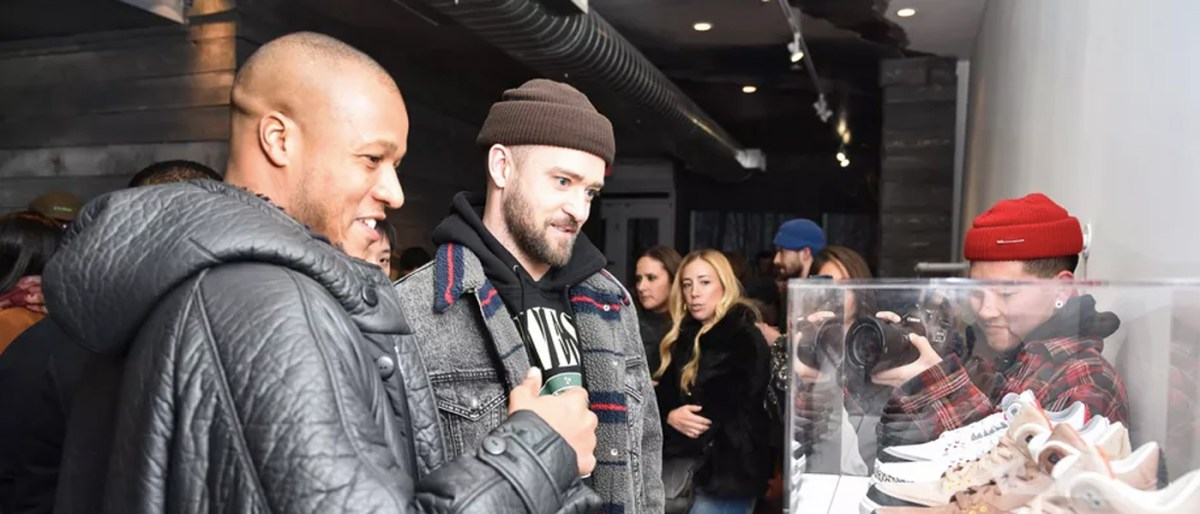 Justin Timberlake and Heston Preston at the pop-up