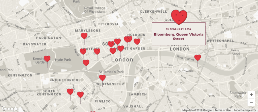 Chubby Hearts mapped out across the city
