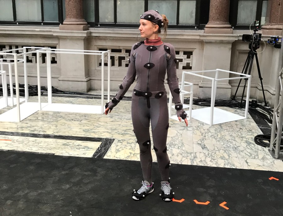 The motion capture model backstage at steventai's augmented reality real-time show