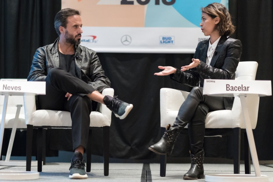 José Neves of Farfetch and Liz Bacelar of TheCurrent on stage at SXSW 2018