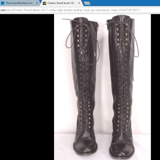 Charles David boots knee high brown leather lace up steampunk Italy