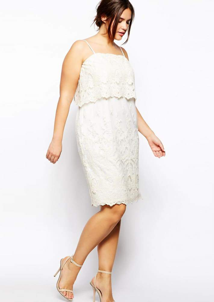 ASOS CURVE Cami Plus Size Dress With Lace Layers