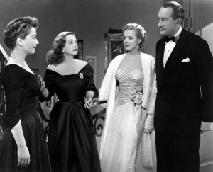 """The 1950 film """"All about Eve"""" received a record 14 Academy Award® nominations, breaking the previous record of 13 nominations held by """"Gone with the Wind"""" since 1939.  Shown here in a scene still from the film are (left to right): Anne Baxter, Bette Davis, Marilyn Monroe and George Sanders. Restored by Nick & jane for Dr. Macro's High Quality Movie Scans Website: http:www.doctormacro.com. Enjoy!"""