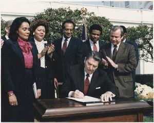 Reagan signing King Bill