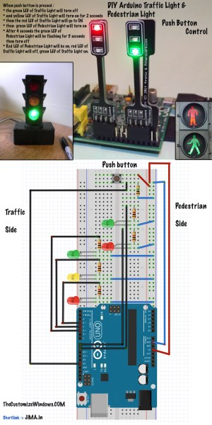 DIY Arduino Traffic Light Pedestrian Light Push Button Control  The Customize Windows