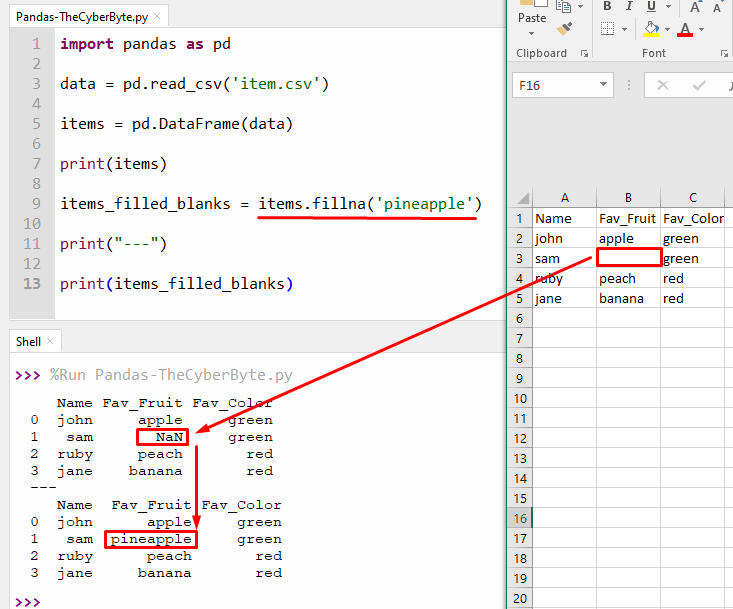 Python Pandas replace blank cells with a value