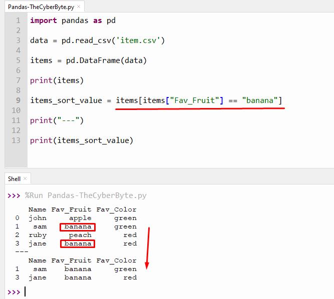 Python Pandas sort column by a certain value