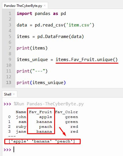 Python Pandas Find Unique Value in Column