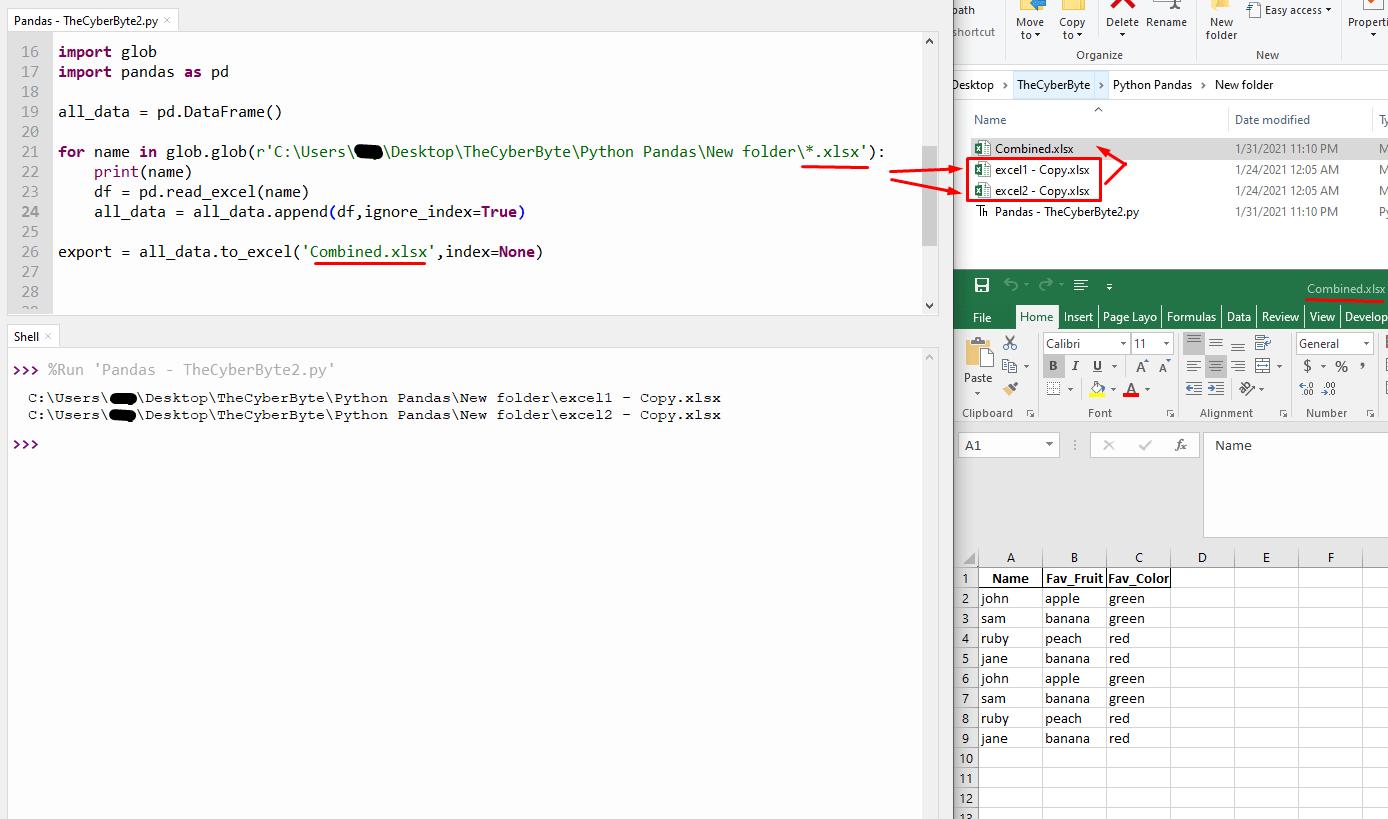 Python Pandas/Glob Combine Multiple Excel Sheet into One Sheet