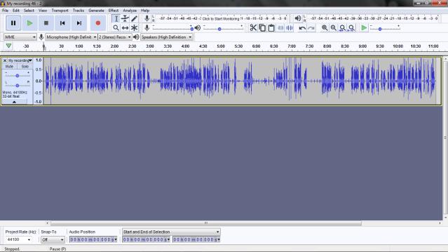 Mono sounds in audacity.