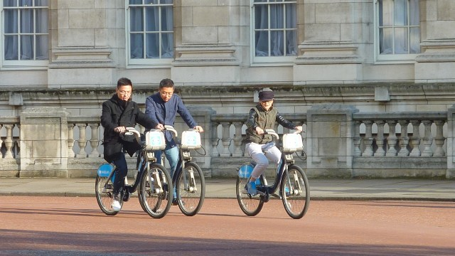 Leisure cyclists in The Mall, London
