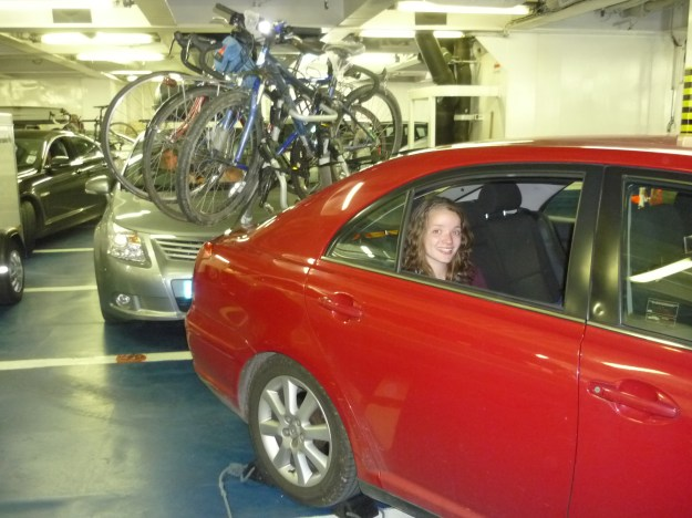 Our family car on the return ferry, well loaded with bikes!