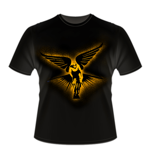 Winged Cyclist Golden Radiance T-Shirt Mock Up