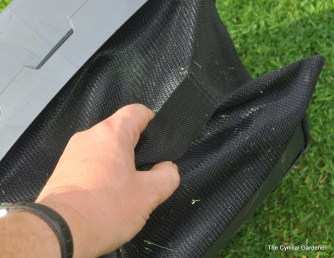 Large grass collection bag with rear handle