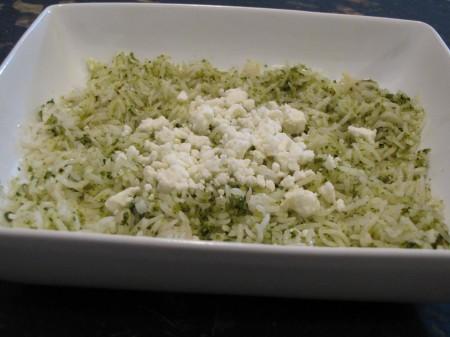 Cilantro pesto on white basmati