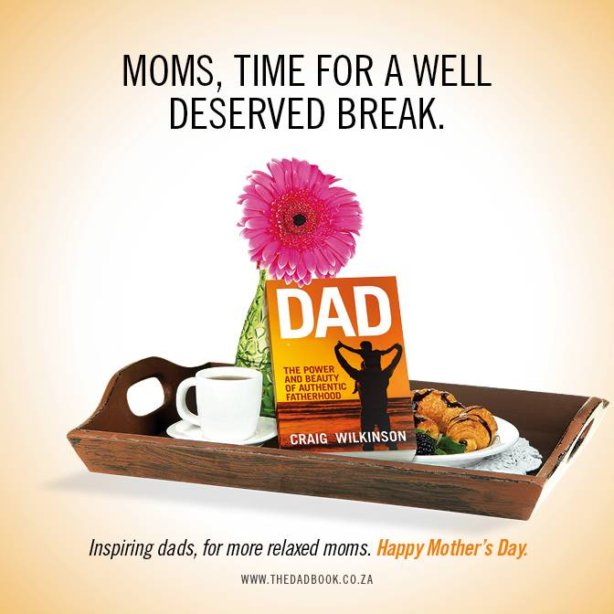 Happy Mother's Day: Dad Book on tray with breakfast and flower