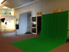 Green and grey backdrops set up in our facilty.