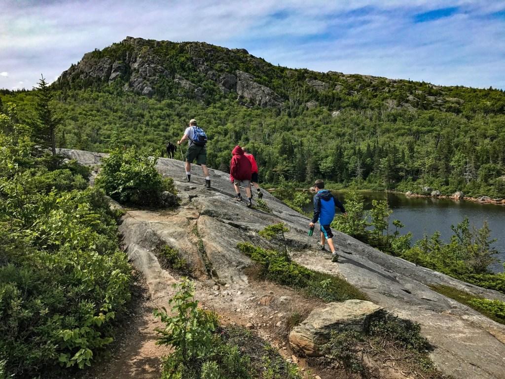 Summiting Tumbledown Mountain in Maine.
