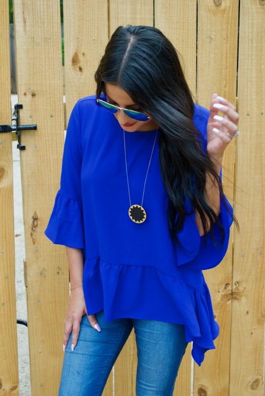 Cobalt Blue Flowy Top