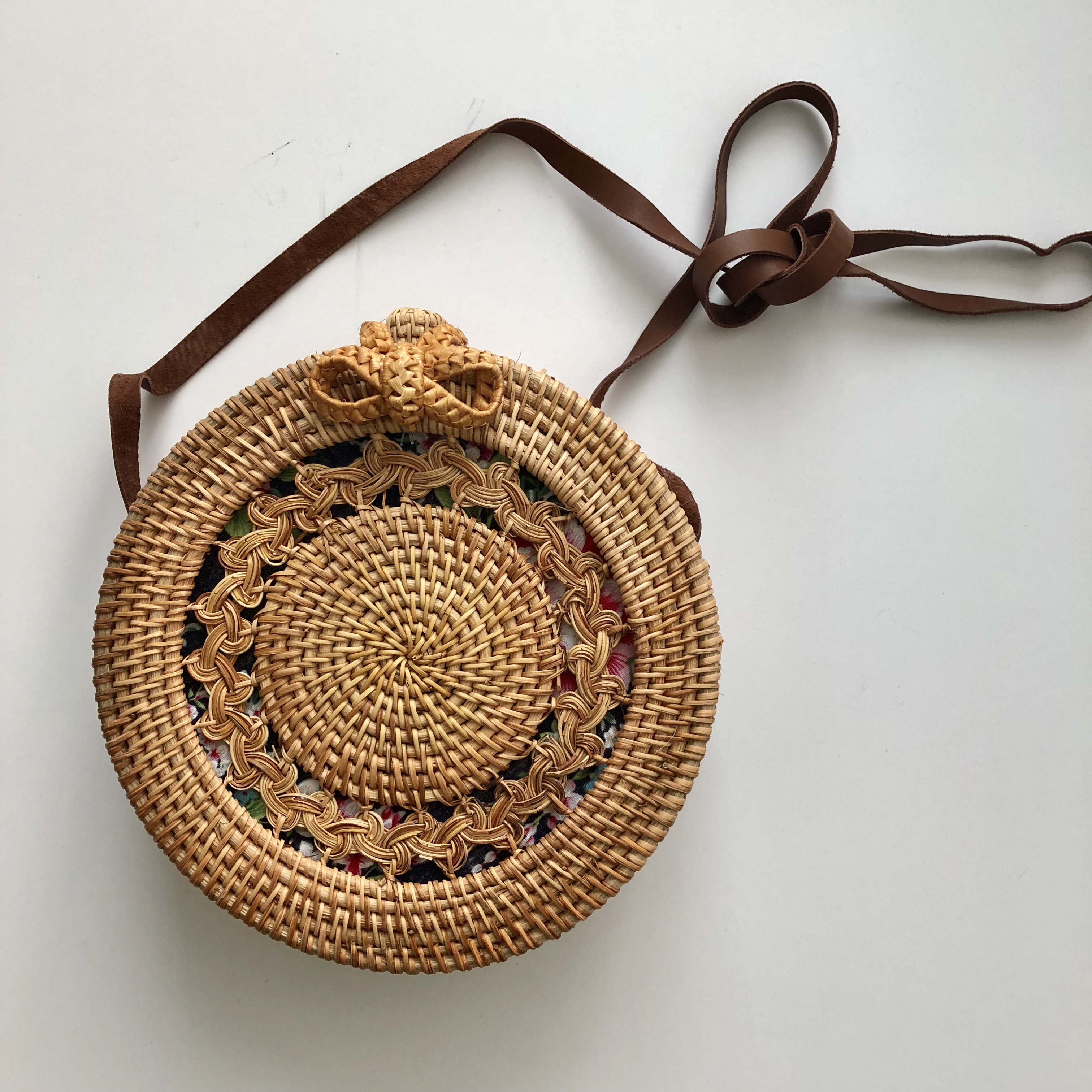 Round Rattan Bali Bag With Floral Inside