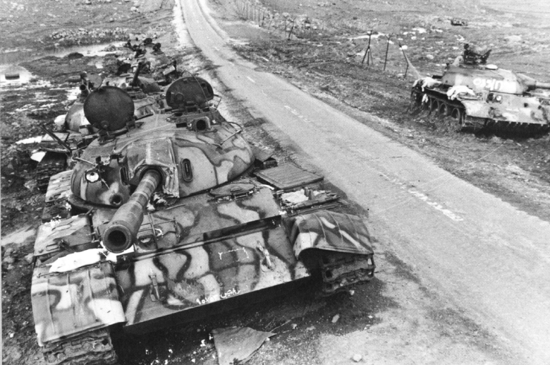 T-55 with frontal penetration on the turret left side.png