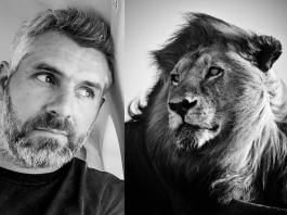 Portrait-Laurent Baheux and Lion