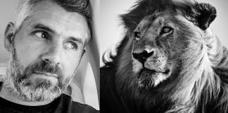 Portrait-Laurent Baheux and Lion