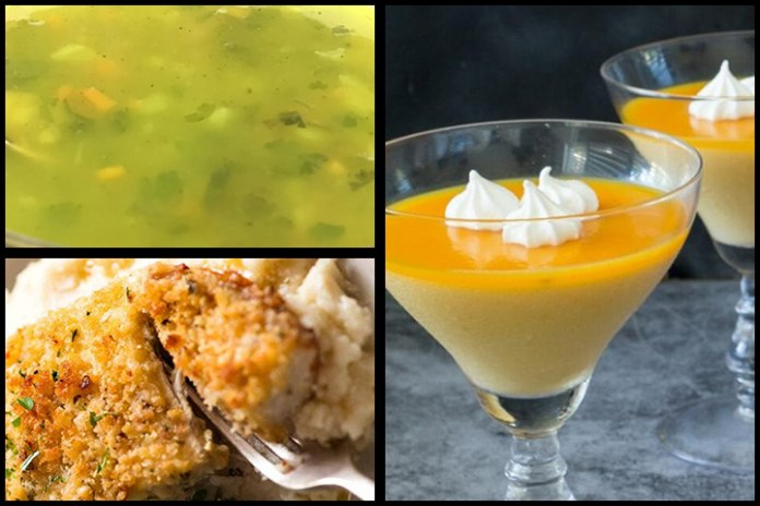 Lemon Coriander Soup | Garlicky Crumbed Fish | Mango Cheese Pannacota (With Out Eggs)